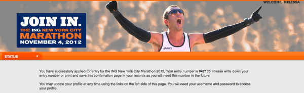 NYmarathon application