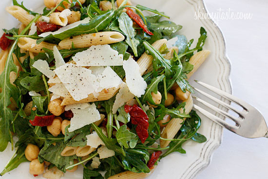 Arugula Salad with Penne Garbanzo Beans and Sun Dried Tomatoes