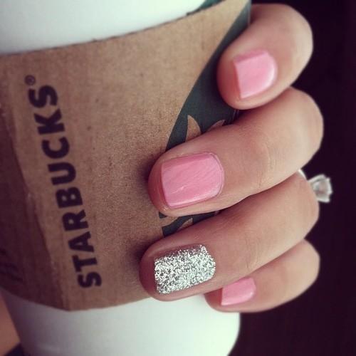 Pink plus glitter nails